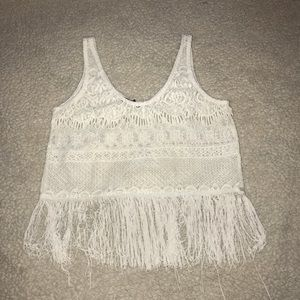 Tops - Sheer Lace Fringe Tank Top, Crop Top